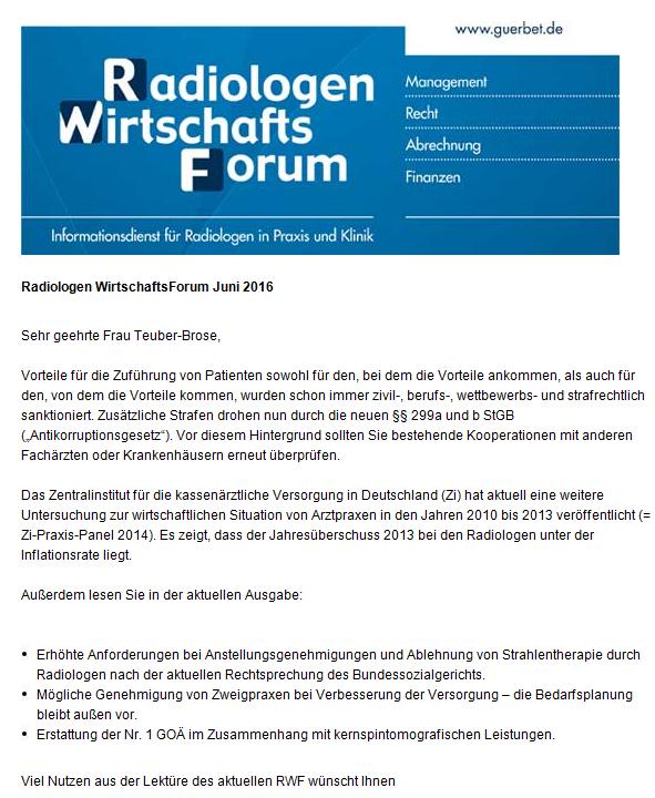 Radiologen Wirtschafts-Forum